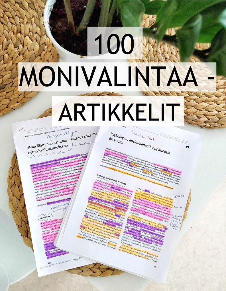 100 monivalintaa artikkelit psykologia pääsykoe