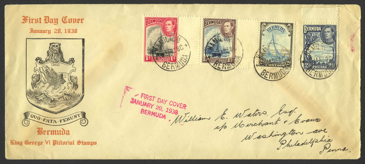 First day cover of four of the 1938 Bermuda King George V pictorial low values - Scott #106, 107, 108, and 110.