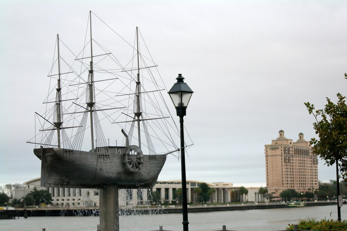 Display of the S.S. Savannah on the Savannah, Georgia, waterfront. Photo taken on December 16, 2016.