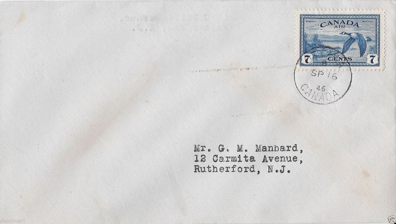 Uncacheted cover bearing Canada Scott #C9, postmarked in Ottawa on the first day of issue, September 16, 1946.