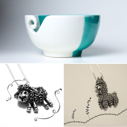 New from Furls Crochet - a beautiful ceramic yarn bowl and pewter necklaces for us yarn lovers!