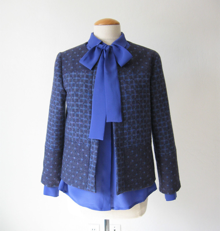 blue wool 2side with blouse