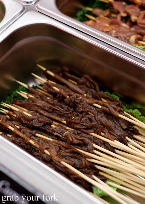 Teriyaki beef tongue skewers at Granny Wolf BBQ in Central Park Mall Sydney