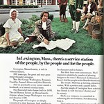 Tue, 2018-06-19 21:34 - Ad from National Geographic, October 1970. Apparently America's Founding Fathers got their gasoline from the town Shell station. An interesting concept, considering it's a European company known as Royal Dutch Shell.  This station, located at 1095 Massachusetts Ave, Lexington, MA, is still standing and hasn't changed much, except it is no longer a Shell station.