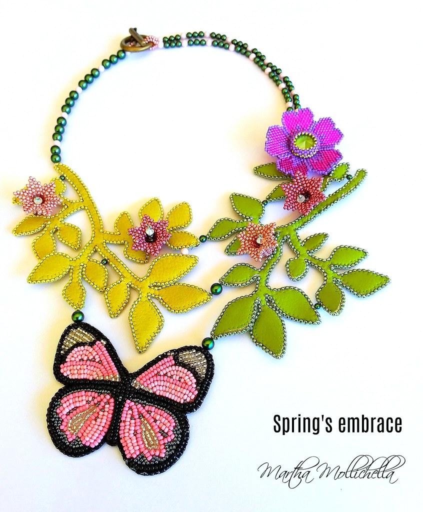Spring's embrace l'abbraccio della primavera collana con perline perle e cristalli Swarovski