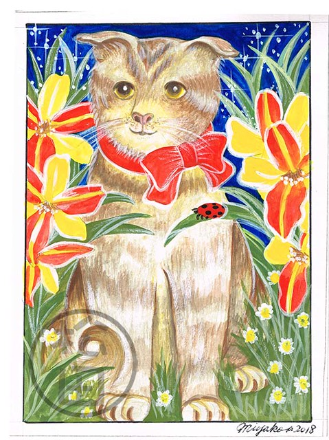 Scottish Fold cat with ladybug and lilies