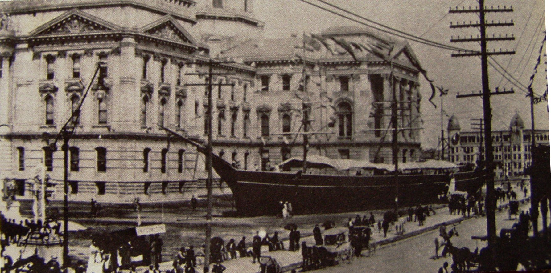 A replica of the USS Kearsarge displayed at the 1893 Grand Army of the Republic (G.A.R.) National Convention in Indianapolis, Indiana.