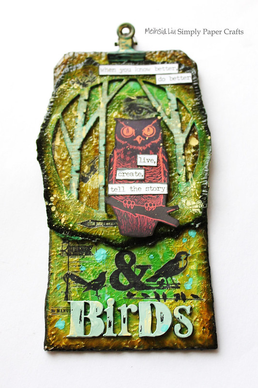 Meihsia Liu Simply Paper Crafts Mixed Media Tag Aesops Fable Owl Birds Simon Says Stamp Tim Holtz