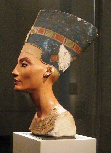 Left profile of the Nefertiti bust in Berlin. Photo taken on January 23, 2008.
