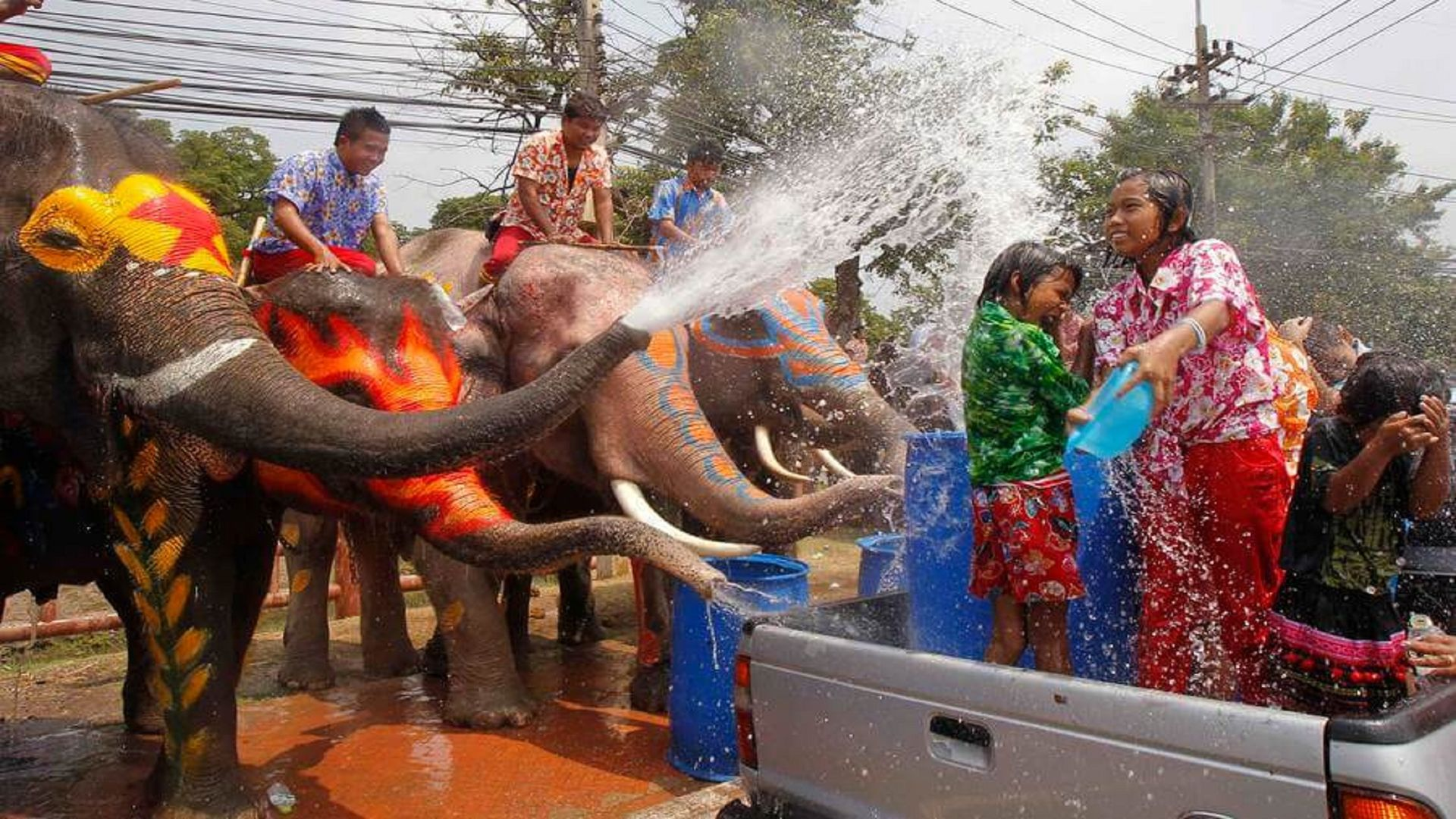 Brightly-colored elephants are a major part of Songkran festivities in some areas of Thailand. Photo taken on April 13, 2011.