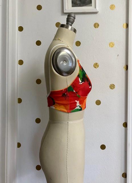 Watson Bra made with Scuba Knit from Mood Fabrics