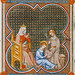St. Louis IX of France and his mentor near the feet of his mother Blanche of Castile, Miniature by Jean Le Noir, Hours of Jeanne de Navarre, 1336-40