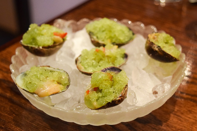 Chilled Clams with Herb Granita at XU, Chinatown