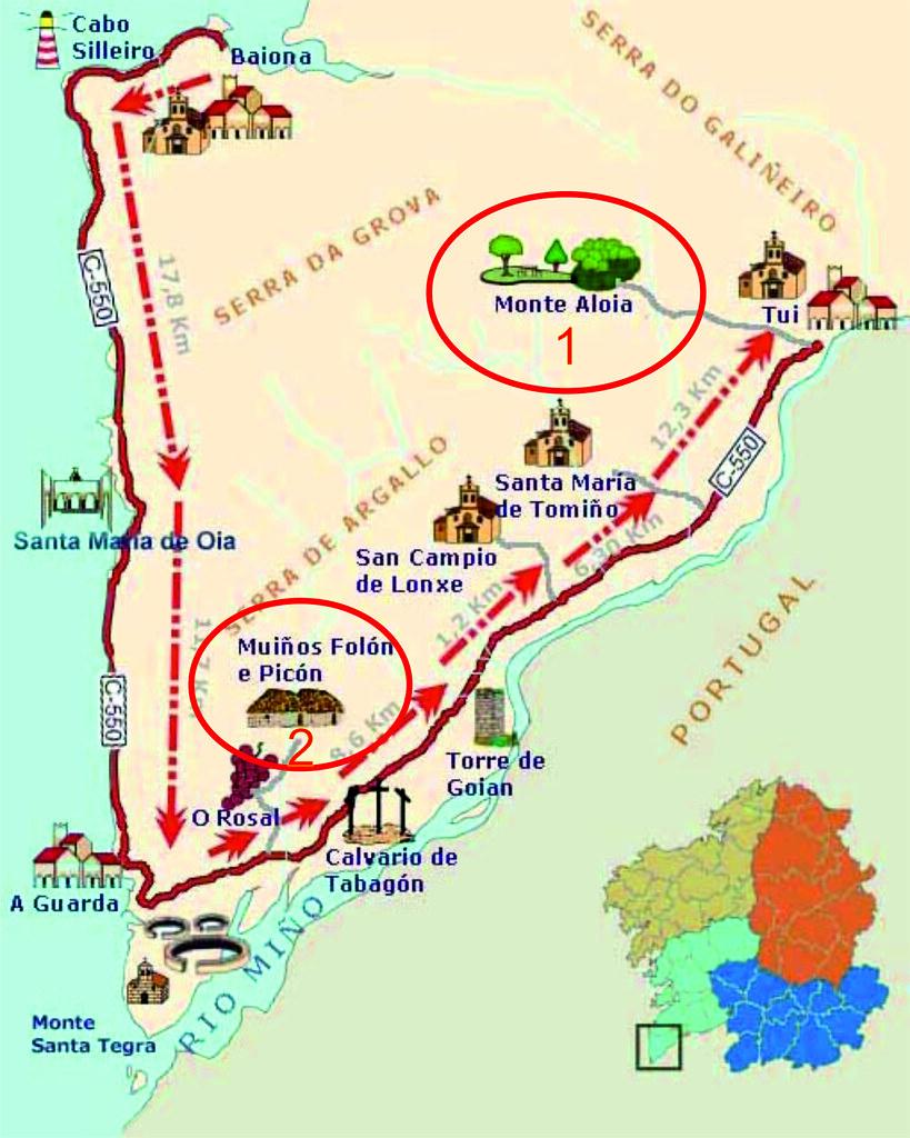 84.- Mapa das andainas Monte Aloia e Molinos O Folón e O Picón