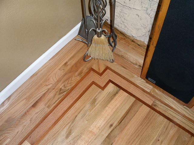 Rustic grade red oak hardwood floor with brazilian cherry for Rustic red oak flooring