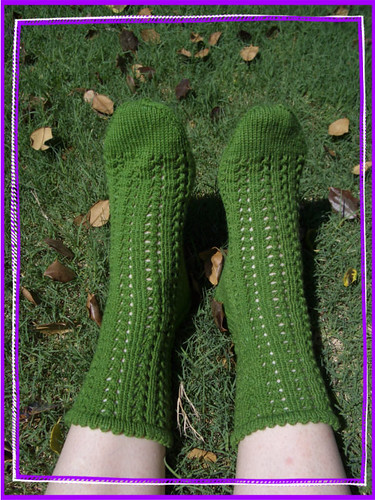 finished mean green girly socks