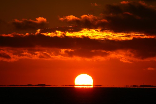 Sunset over the northern sea