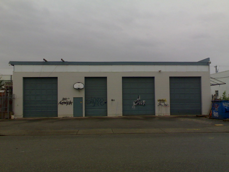Industrial Building With Basketball Hoop