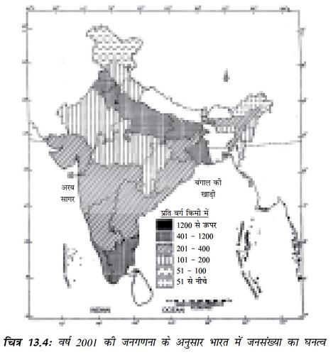 चित्र 13.4 वर्ष 2001 की जनगणना के अनुसार भारत में जनसंख्या का घनत्व