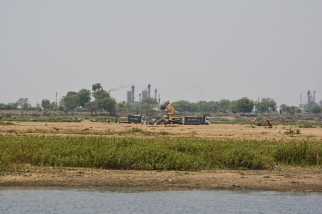 Sand mining in the Mahanadi continues without regulation near Pitaibandh, the proposed site for the new anicut.