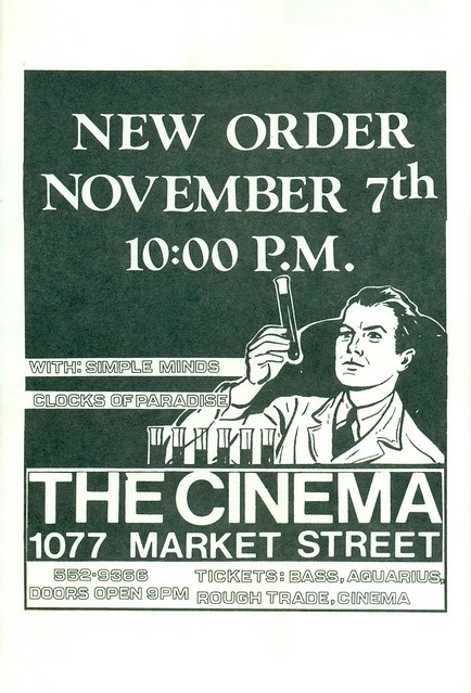 New Order (U.K.), Simple Minds (SCO), and Clocks of Paradise at The Cinema, San Francisco, CA 1981