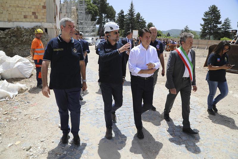Terremoto Centro Italia la visita del Presidente Conte e del Capo Dipartimento Borrelli