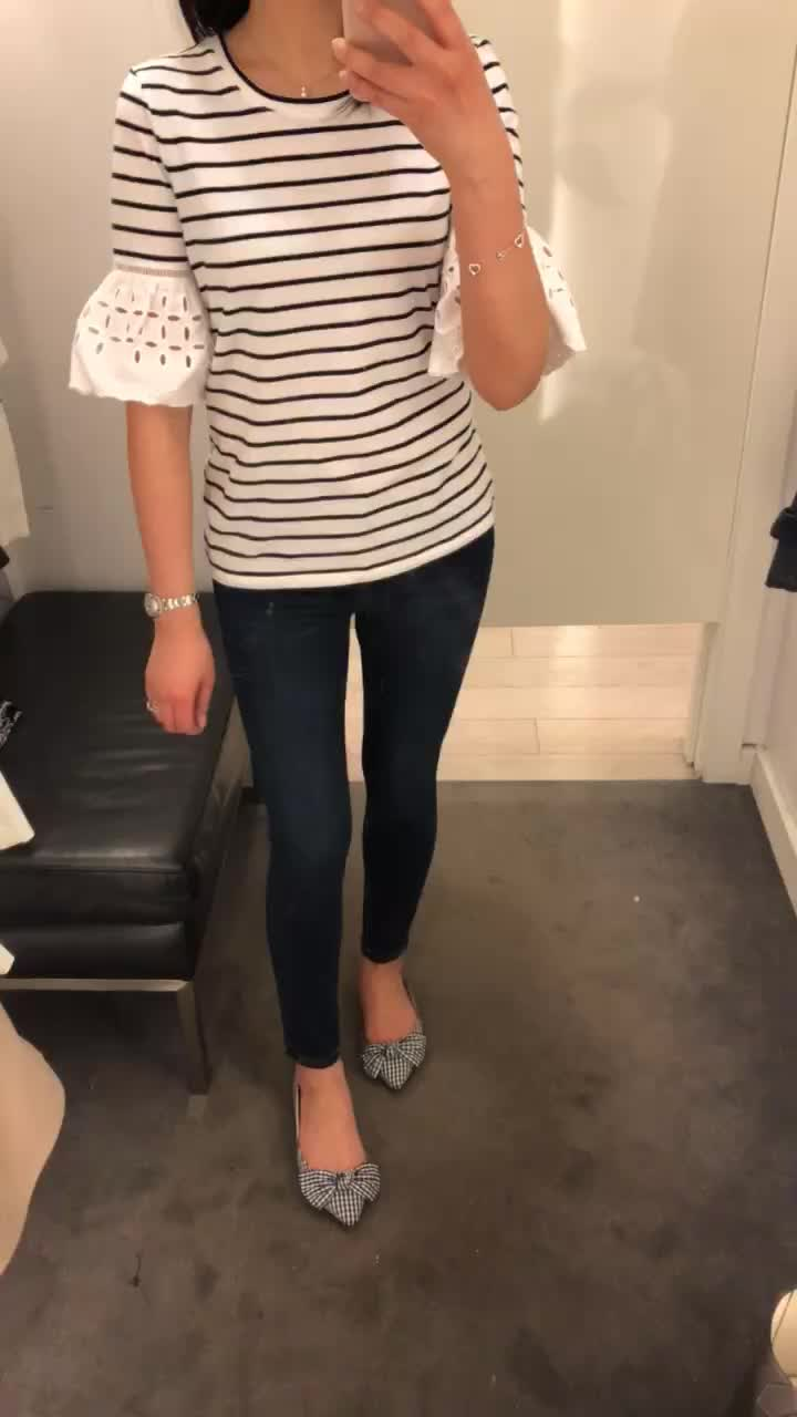 Ann Taylor Stripe Eyelet Flare Sleeve Top, size XSP