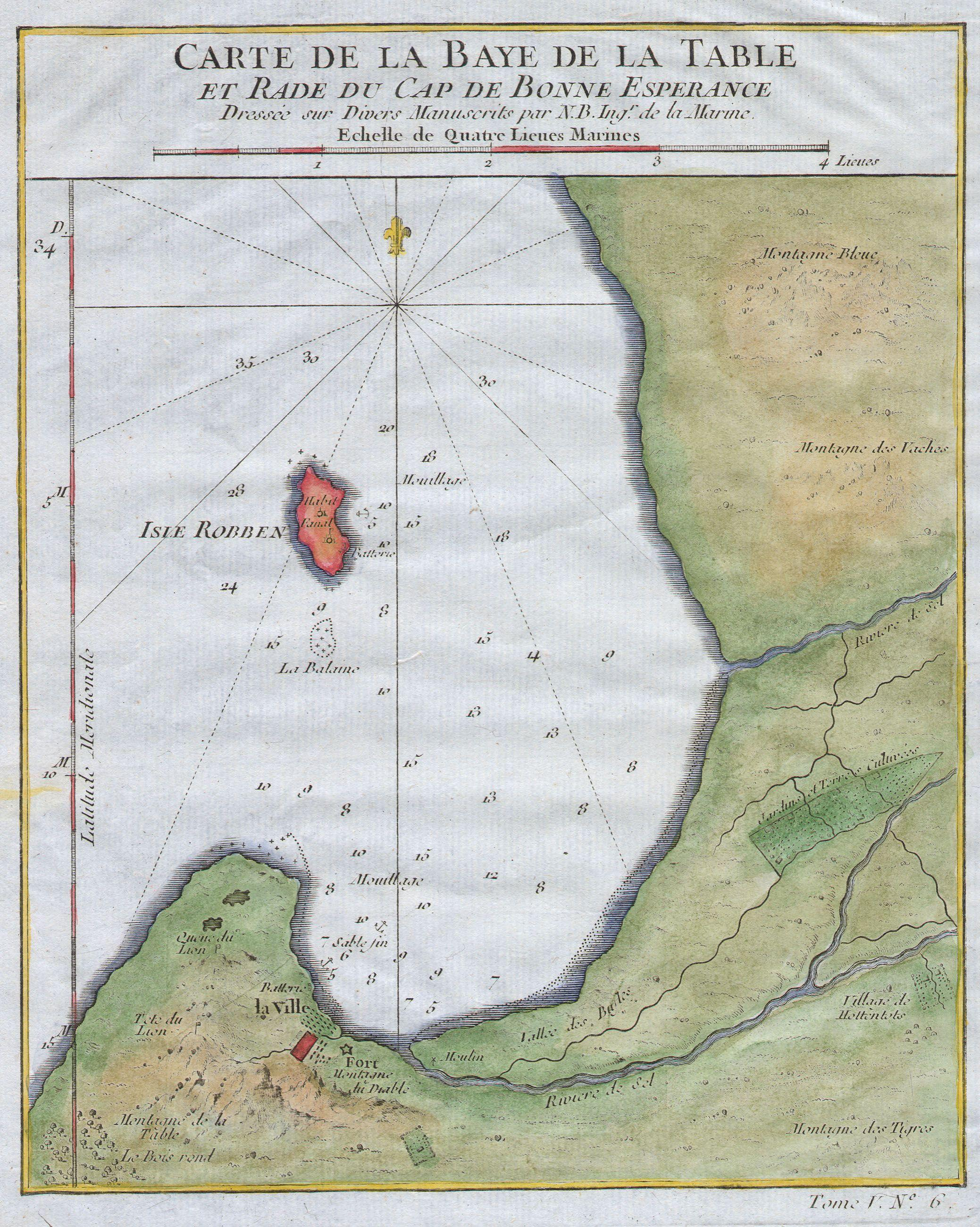 Bellin map of Cape Town, 1763