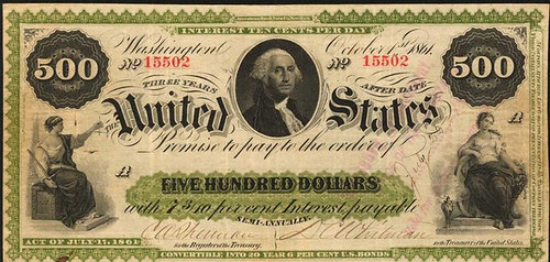 1861 $500 Interest Bearing Note front