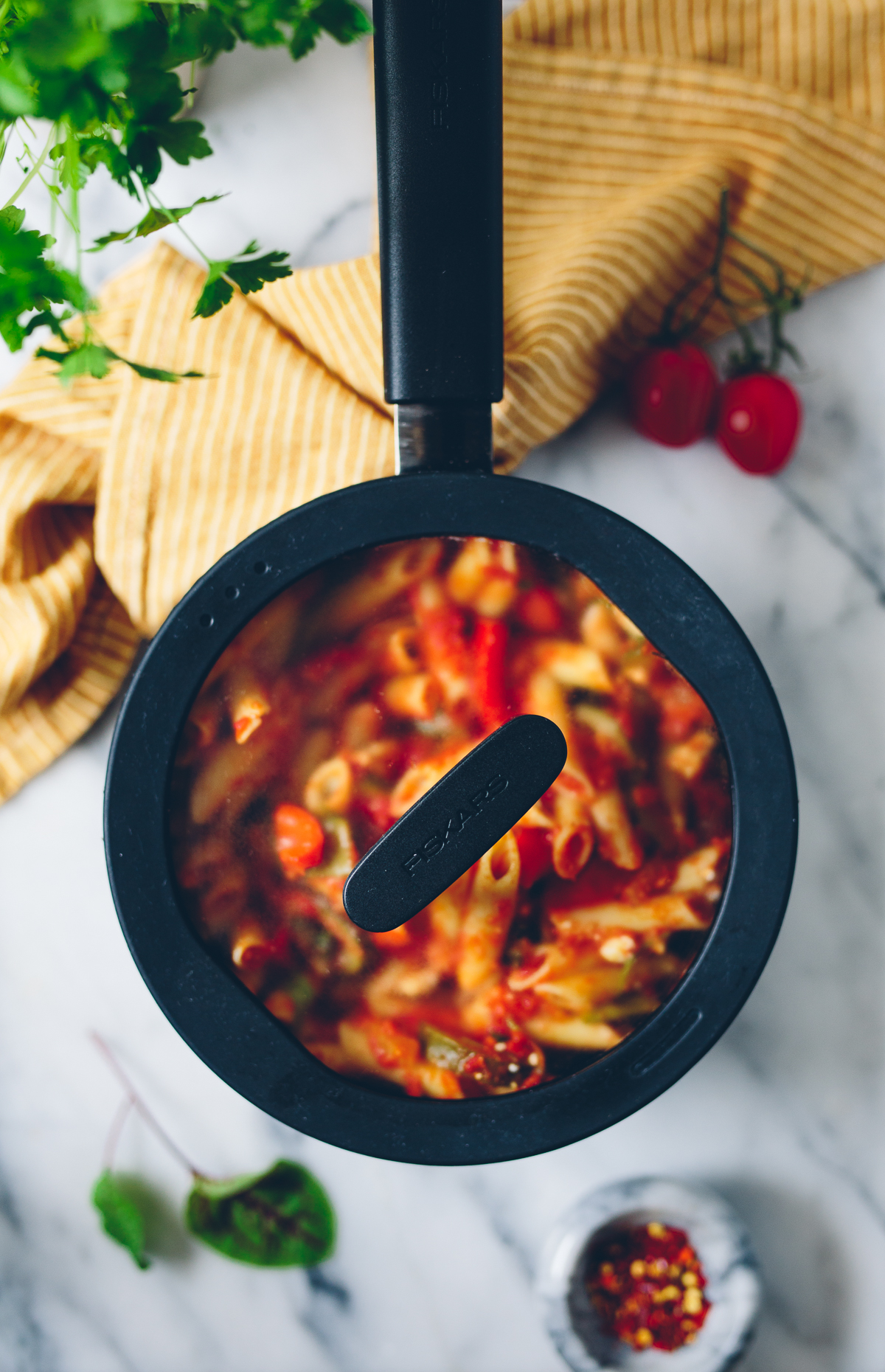 Pasta with Ratatouille & Feta | Cashew Kitchen
