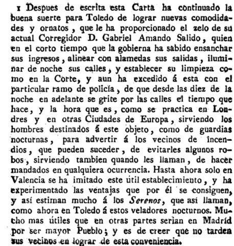 """Descripción de las buenas obras desarrolladas en Toledo por su corregidor Dabriel Amando Salido. Escrito por Antonio Ponz en """"Viage fuera de España"""" (1791)"""