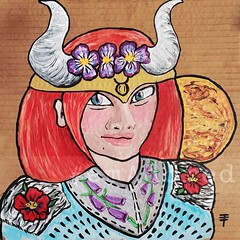 Taurus - Horoscope series.  Acrylic on Cardboard