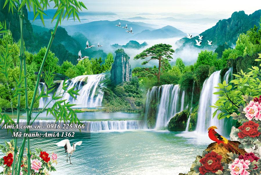Tranh phong cảnh thiên nhiên thác nước sông hồ