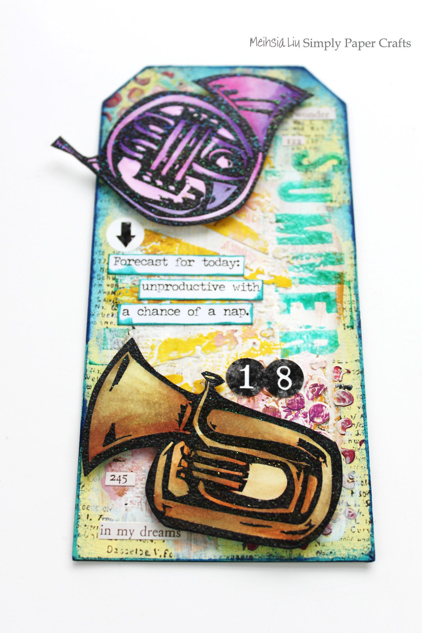 Meihsia Liu Simply Paper Crafts Mixed Media Tag Summer Fun Music Instrument Simon Says Stamp Tim Holtz 1