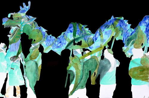 Chinese New Year Dragon Dancers layered with a watercolour sketch of a Philodendron, invert applied