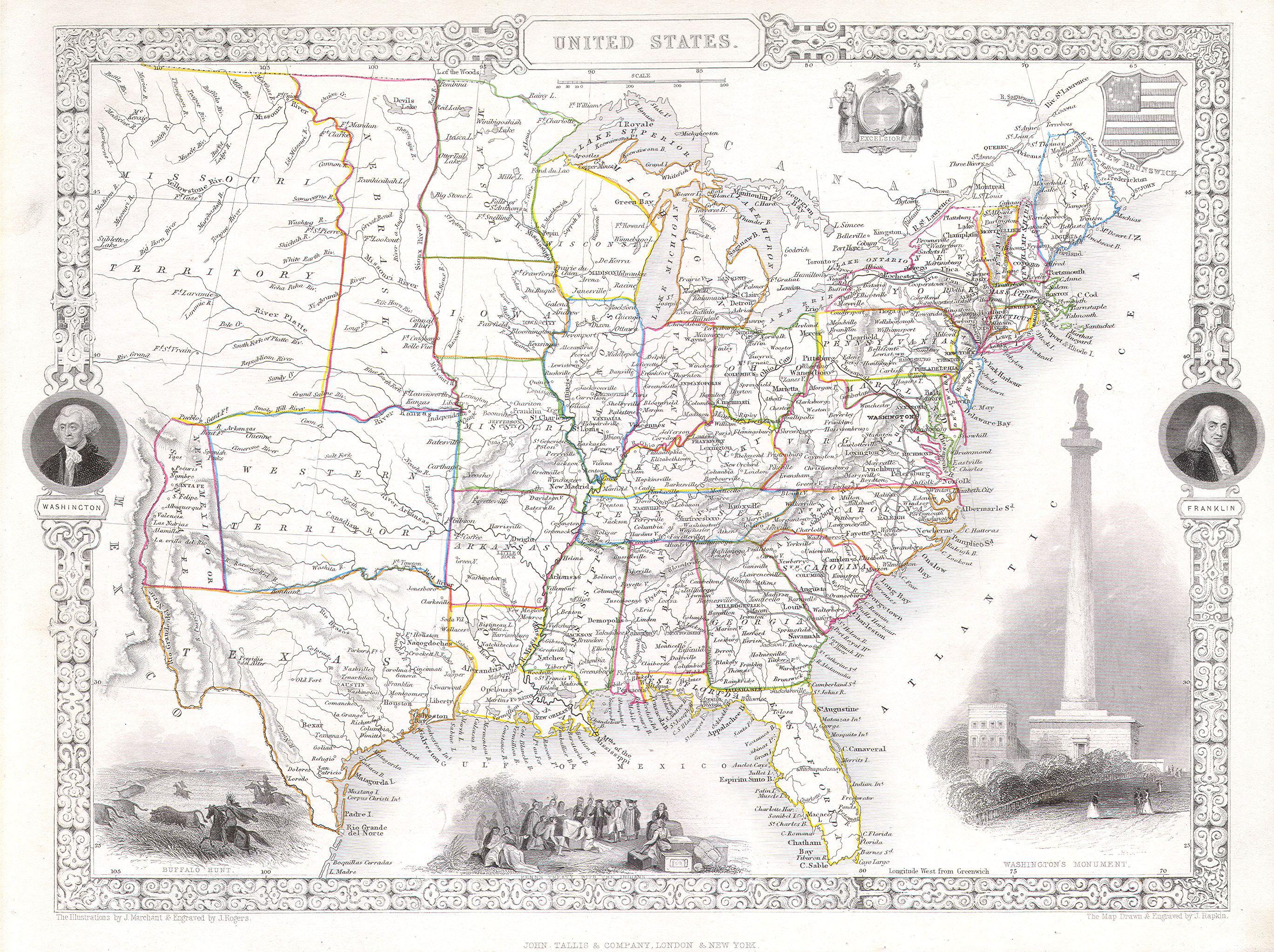 "1850 map of the United States. Covers the United States from Texas (shown at fullest extant) and Santa Fe north through the Missouri Territory to Canada and east to the Atlantic. The Trans-Mississippi region is exceptionally interesting with a fascinating (if somewhat inaccurate even at the time) depiction of the political geography. A long narrow Nebraska Territory extends to Canada. There is a large ""Western Territory"