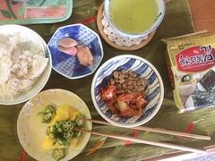 think I've found a way to eat natto❤︎ ・ ・ ・ #納豆 #キムチ #胡麻油 #醤油 #米 #生姜酢漬け #玉子焼き #オクラ #煎茶 #東京 #natto #kimchee #sesameoil #shoyu #rice #pickledginger #omelette #okra #sencha #koreannori #韓国海苔 #tokyo #japan
