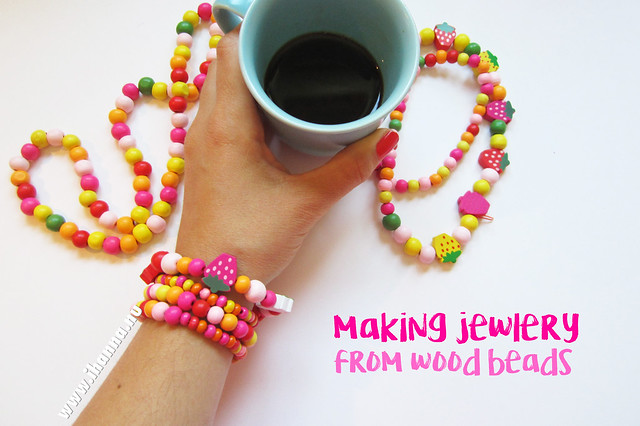 Making Wood bead jewelry and sipping my coffee