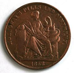 1858 Professor Hollloways Pills Medal obverse