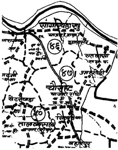 होशंगाबाद तहसील के नक्शे का एक भाग