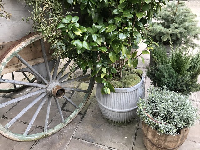 Bicester village,  planters and carriage wheel