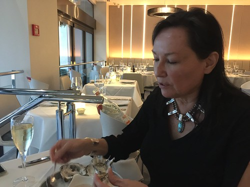 Enjoying champagne and New Zealand oysters at SOUL in Auckland