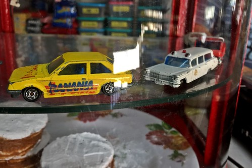 Vintage diecast models on a little food store - Valparaíso, Chile