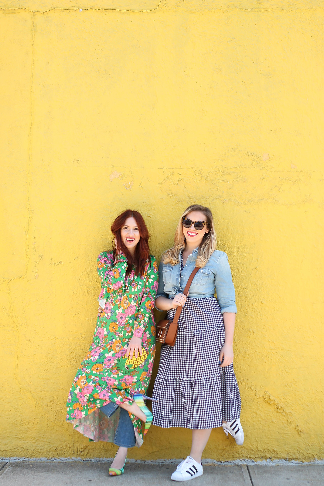 Fun Spring Layered Outfit New York City Fashion Bloggers Floral Dress Gingham Dress Yellow Wall