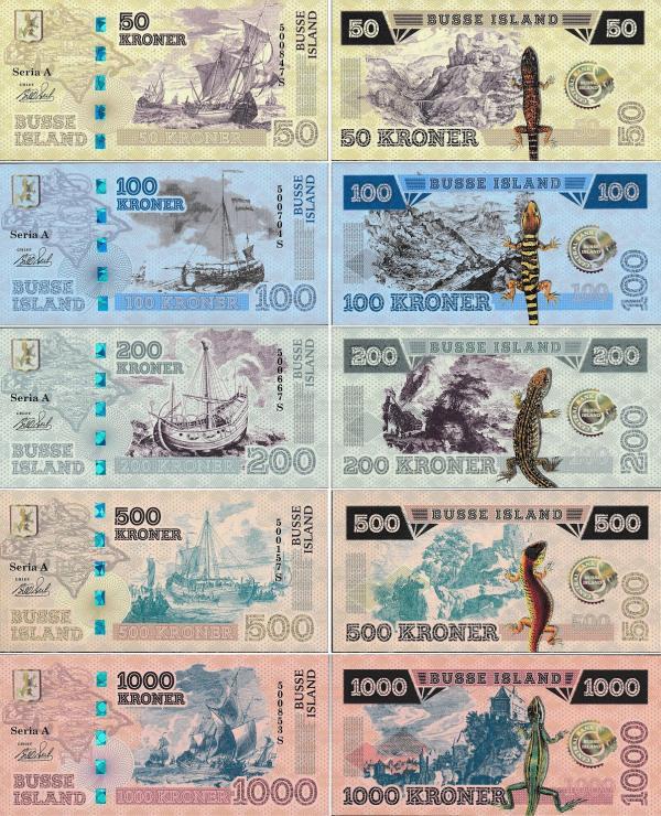 Busse Island 50-1000 kroner  2017