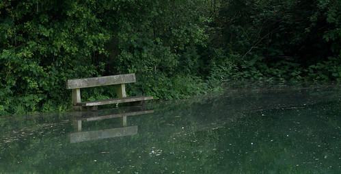 Kingsbury Water Park - Flooded - bench reflected