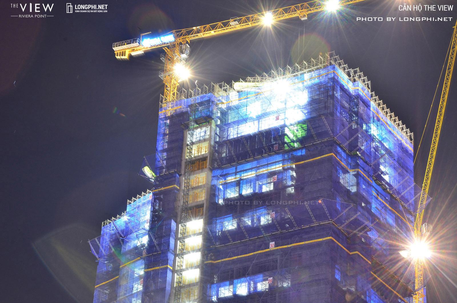 Tháp 8 (T8) căn hộ The View đã thi công đến tầng 40 - tầng đỉnh tòa nhà.