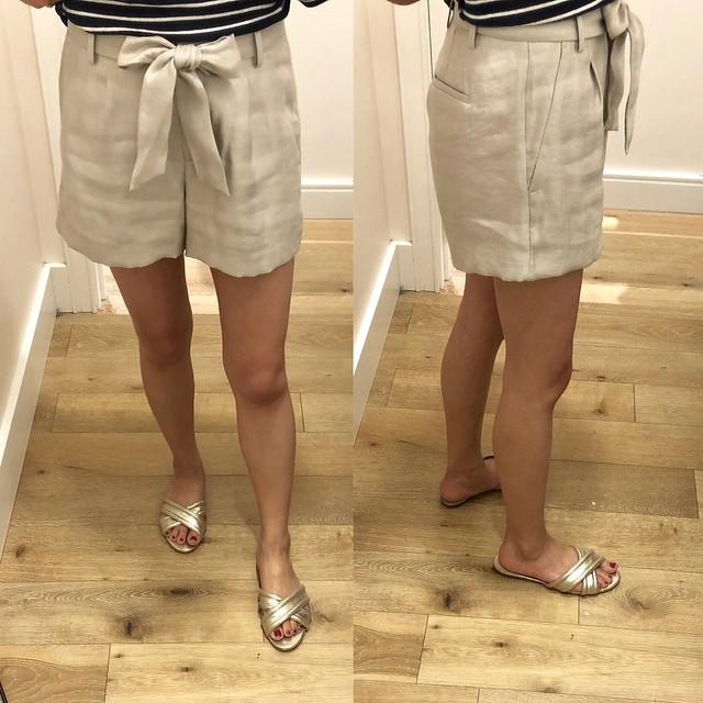 LOFT Shimmer Tie Waist Shorts, size 0P