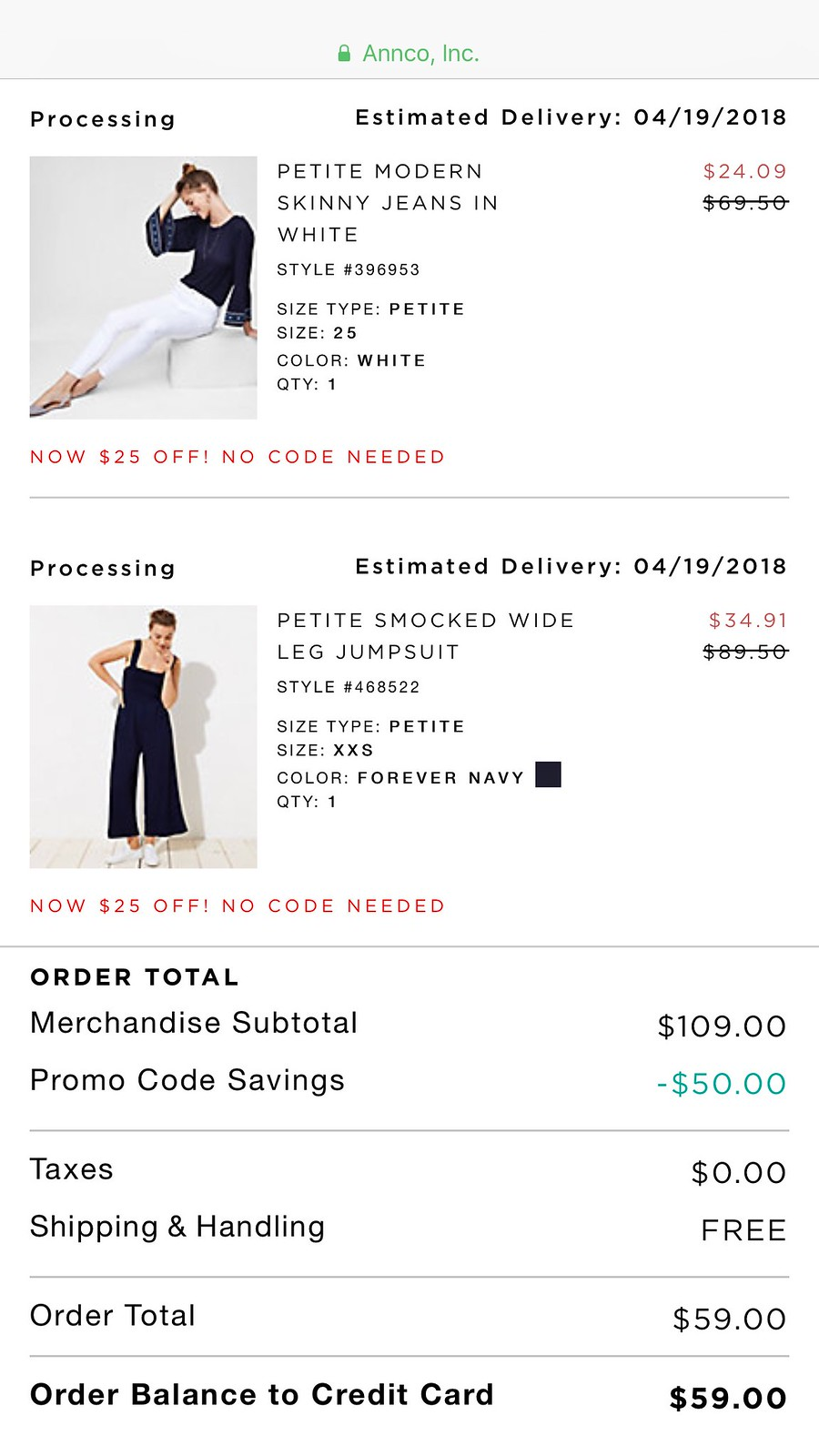 Example of $25 off (no code needed, $50 off $100+ with FEB419CC and Free shipping on orders of $50+