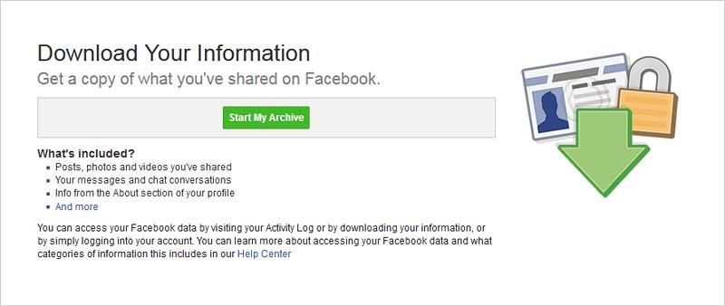 Anda dapat mengunduh berkas berisi informasi Anda di Facebook.